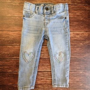 Skinny Heart Embroidery Jeans